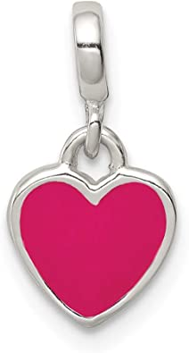 925 Sterling Silver Red Enameled Heart with Wings Enhancer Pendant