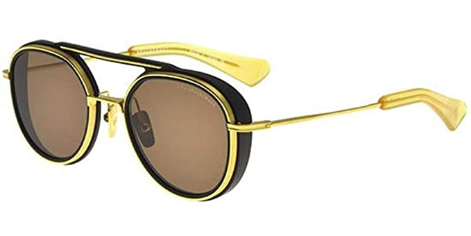 fd5e75b1a97 Dita Spacecraft Sunglasses 19017 for Men and women in Round Gold brushed  frame and Brown Lens  Amazon.co.uk  Clothing