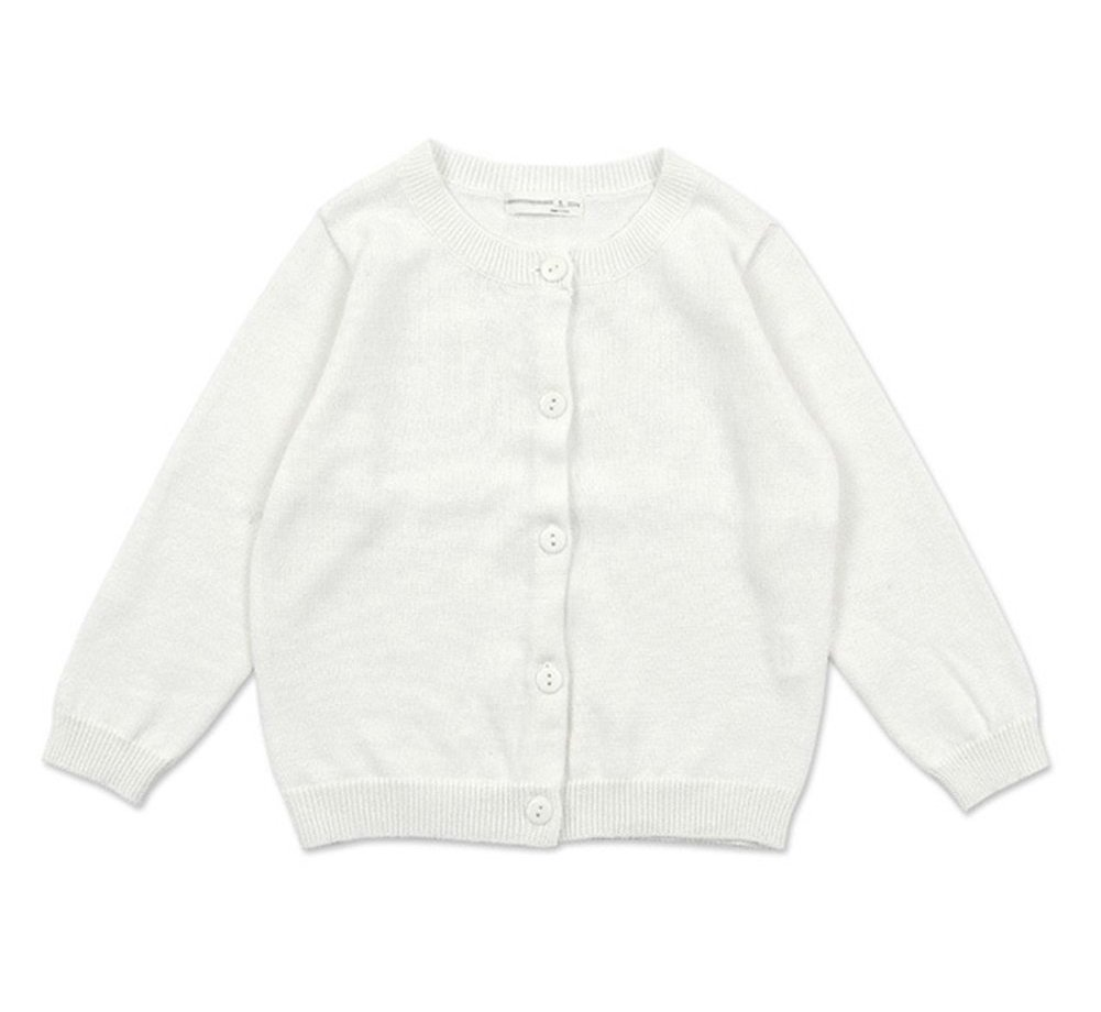 RJXDLT Little Girls Cardigan Knit Sweaters Long Sleeve Button Cotton Sweater 4Y Ivory White