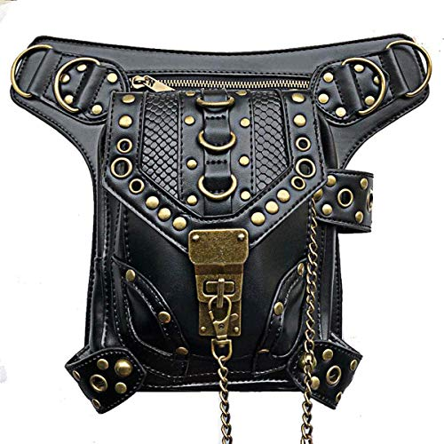 Steampunk Waist bag Fanny Pack Thigh Holster Purse PouchRetro Fashion Gothic Casual Leather Shoulder Crossbody Messenger Bags Punk Rock Travel Hiking Sport Chain Wallet Bag for Women Men (Black)