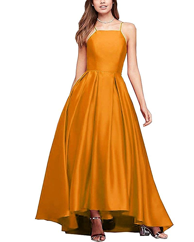 gold Gorgeous High Neck Satin Ball Gown Bridesmaid Dresses Prom Gown Maxi Skirt