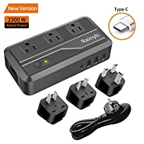 Universal Travel Adapter,Rainyb 2300W Power Converter 220v to 110v Voltage Converter with 8A 3-Port USB Charging &Type-C and UK/AU/US/EU Worldwide Plug Adapter,Converter for Hair Dryer