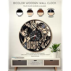 Bolt Wooden Clock. Moden Bicolor Clock. Disney Gift. Disney Decor. Handmade Wall Clock. Disney Clock. Kids Room Clock B333(Vinyl Record-Maple)