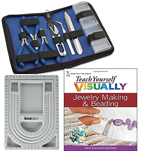 Bundle Includes 3 Items - Bead Design in Beading Board and Gray Flock with Lid, 9 by 13-Inch and Beadalon 7-Piece Tool Kit Zip Pouch, Econo and Teach Yourself VISUALLY Jewelry Making and Beading