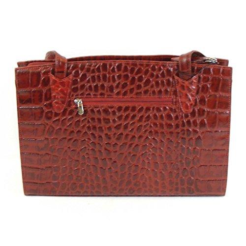 Pavini Damen Tasche Shopper Croco echt Leder rot 9256 Reißverschluss Handyfach