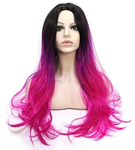 Curly Hot Pink Wig, Synthetic Pink/Purple Wigs, Full Head Ombre Wigs, 26