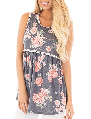 (YOUCOO Women Floral Print Sleeveless Babydoll Tank Top with Lace Trim, Gray, Large )