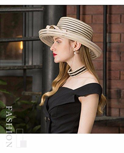 Krastal Womens Fascinators British Ladies Wide Brim Hat Vintage Kentucky Derby Fedora by Krastal (Image #3)