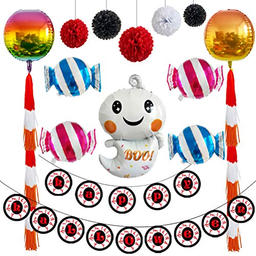 TOYANDONA Balloons Set Halloween Aluminum foil Balloons Ghost Candy Halloween Hanging Banner Paper Flower Party Supplies Decorations