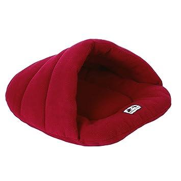 ueetek Igloo Caseta gato perro pequeño cojín cama saco de dormir para perro suave peluche algodón cálido rojo oscuro: Amazon.es: Productos para mascotas
