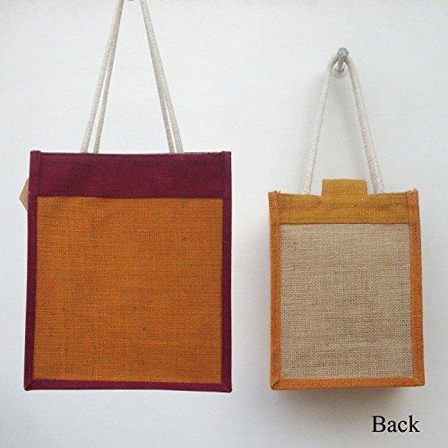 Indische Fancy Lunch cum Cosmetic Taschen Jute mit Baumwollschnur-Griffe (Satz von 2)