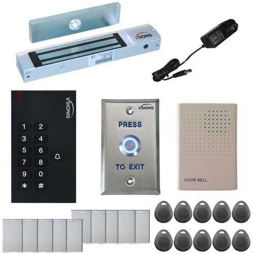 Visionis FPC-5322 One Door Access Control Outswinging Door 300lbs Maglock with VIS-3002 Indoor Use Only Keypad/Reader Standalone no software EM Card Compatible 500 Users Kit
