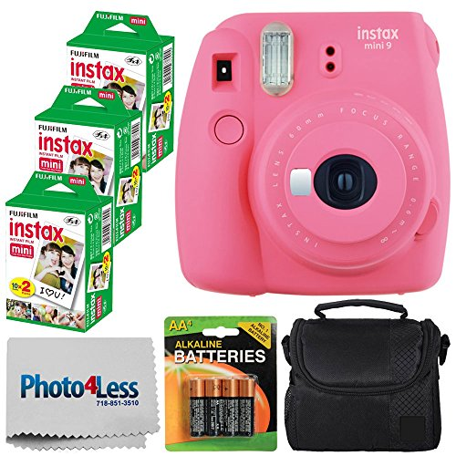 Fujifilm instax mini 9 Instant Film Camera (Flamingo Pink) - Fujifilm Instax Mini Twin Pack Instant Film (60 Shots) + Compact Camera Case + AA Batteries + Cleaning Cloth - Full Accessory Bundle