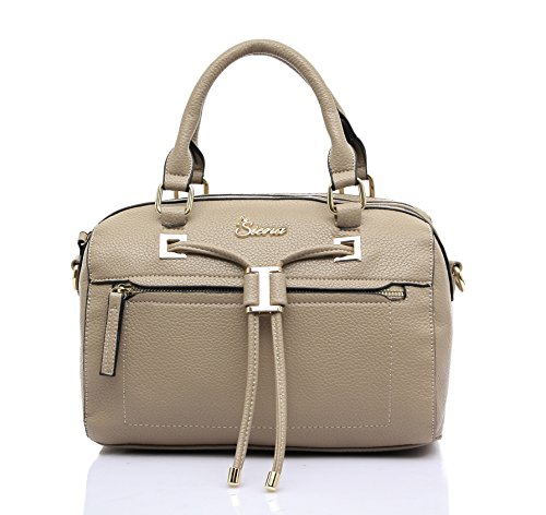 Siena Classic Top Handle Shoulder Satchel MS014 (Grant Beige)