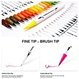 Ohuhu Art Markers Dual Tips Coloring Brush Pen & Fineliner Color Pens, 60 Colors of Permanent Marker Highlighter Pens for Calligraphy Drawing Sketching Coloring Book Bullet Journal Art Projects
