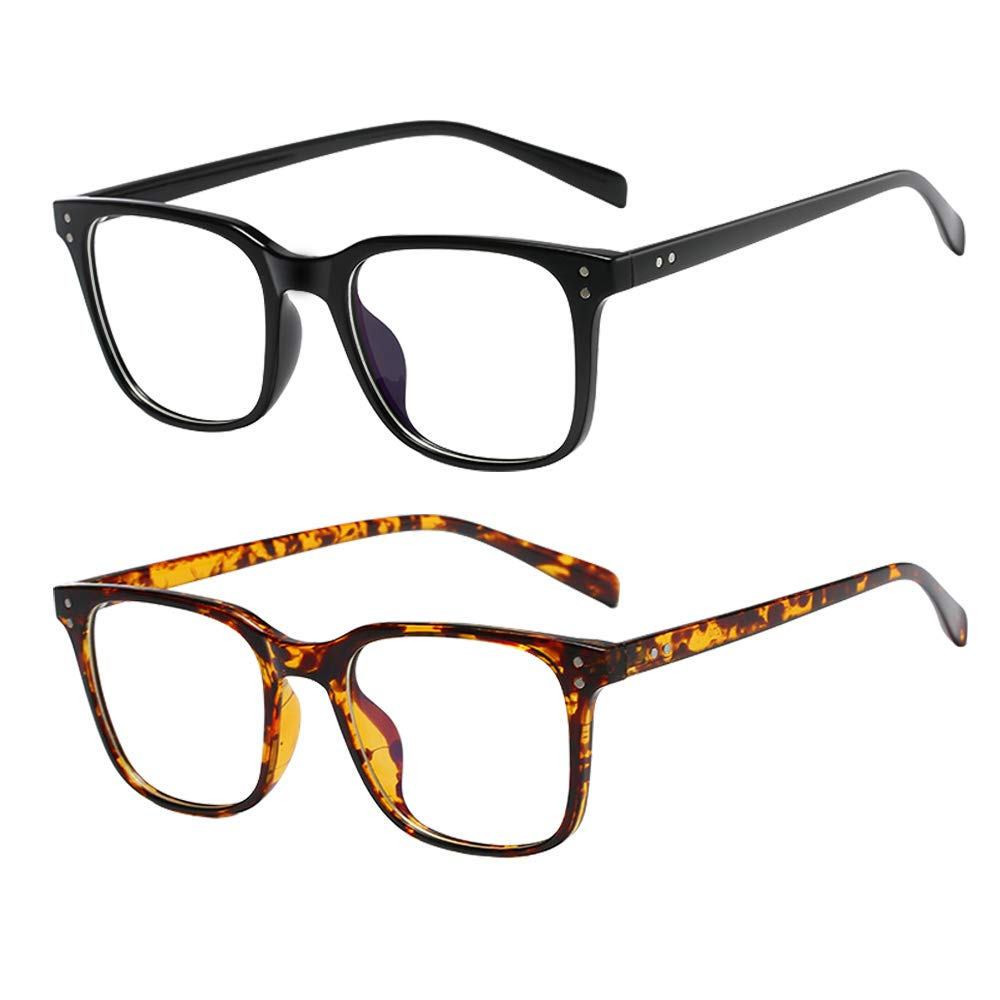2 Pack Blue Light Blocking Glasses, VICBAY Cut UV400 Square Eyeglasses, Anti Eyestrain Computer Game Glasses, No Magnification Transparent PC Lens Glasses, Unisex (Men/Women), Black & Twilight