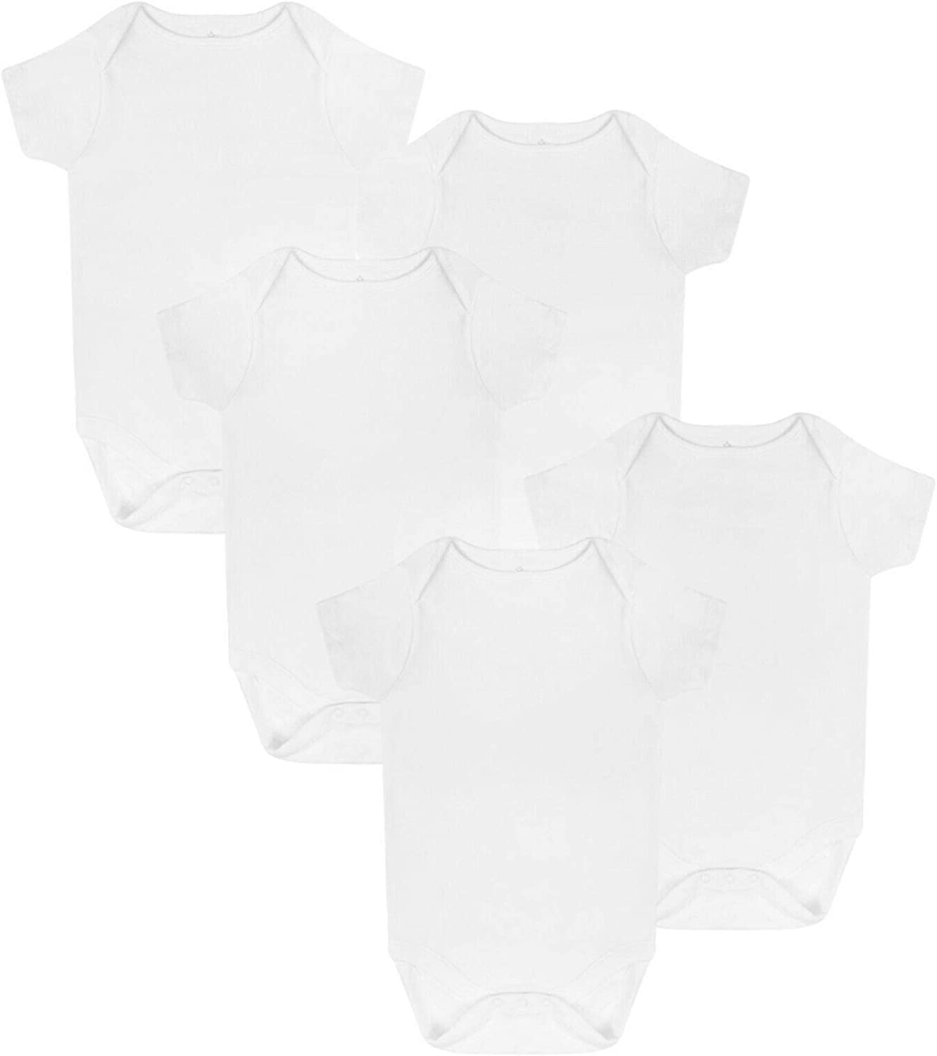 Baby Boys Girls 5 Pack Bodysuits EX M/&S Cotton 0-36M Short Sleeve Vests New