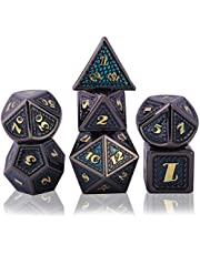 Schleuder Metalen dobbelstenen set DND veelvlak, 7 stuks D & D dobbelstenen sets zinklegering met massief metaal voor DND game, tafelblad RPG, kerkers en draken, wiskunde onderwijs (gouden en blauw)