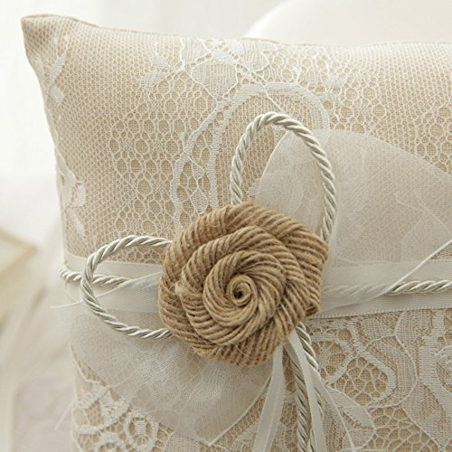 WoodBury Wedding Ring Bearer Pillow Lace Floral Ivory Brown(8 Inch x 8 Inch) by Wood Bury (Image #5)
