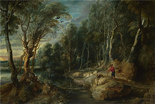 'Peter Paul Rubens A Shepherd With His Flock In A Woody Landscape ' Oil Painting, 10 X 15 Inch / 25 X 38 Cm ,printed On Perfect Effect Canvas ,this High Resolution Art Decorative Prints On Canvas Is Perfectly Suitalbe For Garage Decor And Home Decoration And Gifts