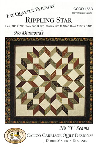 "Rippling Star Quilt Pattern, No Diamonds, No ""Y"" Seams, Fat"