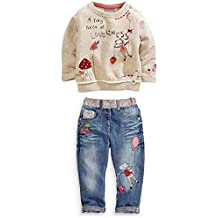 Kids Baby Girl Children Floral Long T-shirt Top+Jean Pants Set Outfit