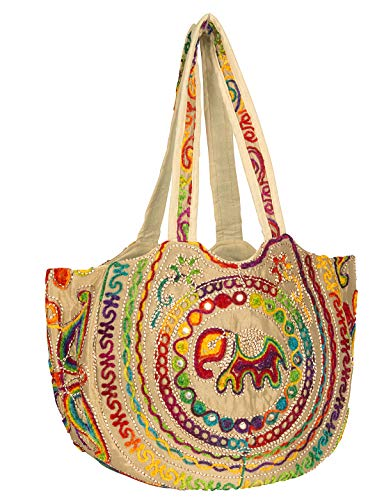 Colorful Floral Women Boho Fashion Shoulder Tote Bag Large Roomy School Book Laptop Market Casual (Biege)
