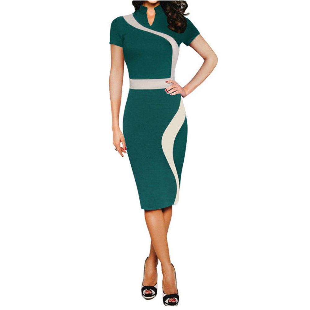 Eiffel Women's Illusion Color Block Contrast Patchwork Office Work Business Pencil Dress Green