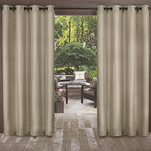 Cabana Home (Exclusive Home Biscayne Indoor/Outdoor Two Tone Textured Window Curtain Panel Pair with Grommet Top, 54x108, Sand, 2 Piece)