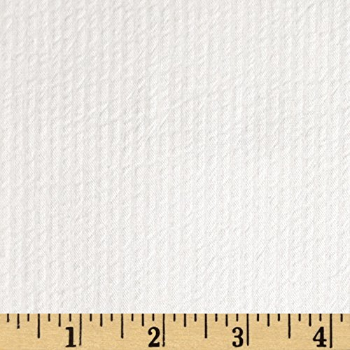Richland Textiles Cotton Seersucker Stripe White Fabric by The Yard