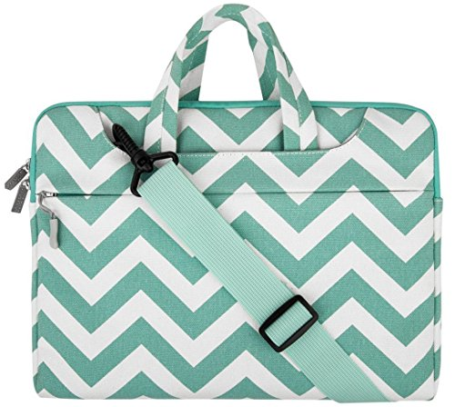 MOSISO Laptop Shoulder Bag Compatible 13-13.3 Inch MacBook Pro, MacBook Air, Notebook Computer, Chevron Style Messenger Briefcase Carrying Handbag Sleeve Case Cover, Hot Blue
