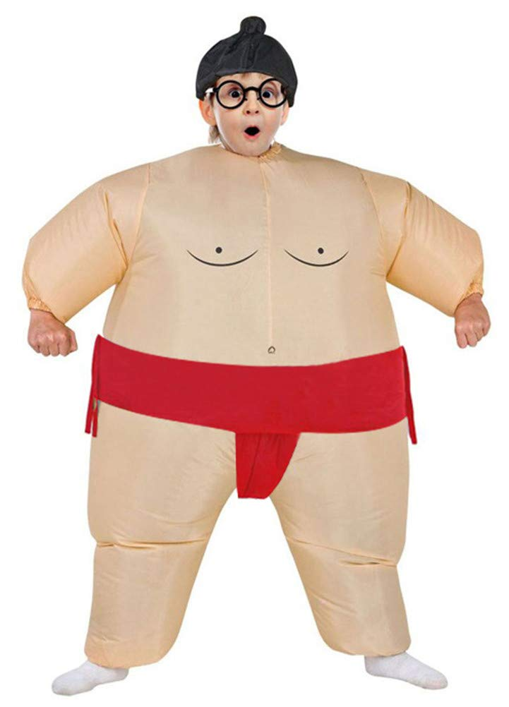 Inflatable Costumes Adult/Kids,Halloween Cosplay Japanese Samurai Wrestler Wrestling Suits Blow up Costume(Kids,Red)
