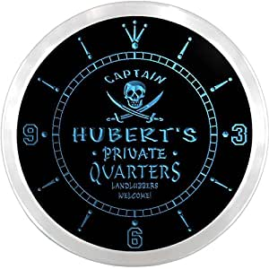 ncpw0325-b HUBERT'S Private Quarters Pirate Man Cave Bar Beer LED Neon Sign Wall Clock