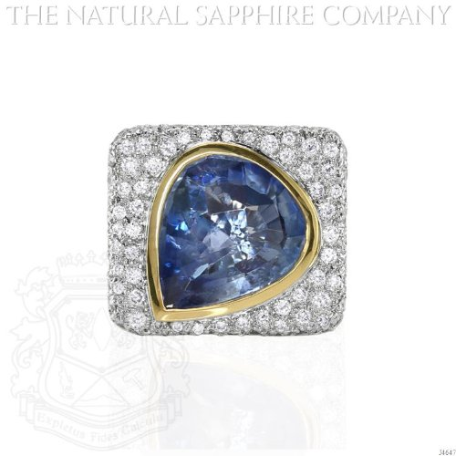 18K Y/W Gold Ring with Diamonds and 8.44 carat Pear Shaped Sapphire. (18k Gold Pear Shaped Sapphire)