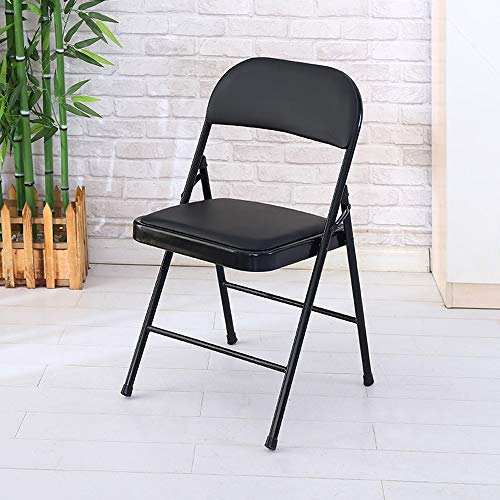 Leather Teak Folding Chair - Office Chair, Load-Bearing Backrest Folding Steel Plate Base for Living Room and Office Meeting // Littay