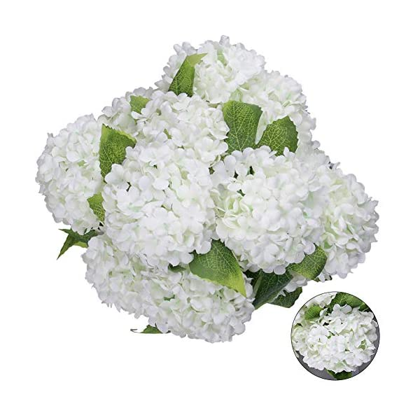 Greentime Artificial 7 Heads Hydrangea Flowers Fake 13 Inches Mini Silk Hydrangea Flowers Faux Tiny Hydrangea Bouquet for Wedding Home Table Centerpiece Party Decoration (White)