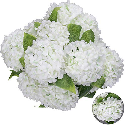 Greentime Artificial 7 Heads Hydrangea Flowers Fake 13 Inches Mini Silk Hydrangea Flowers Faux Tiny Hydrangea Bouquet for Wedding Home Table Centerpiece Party Decoration (White) (Flower Centerpiece Silk Ideas)