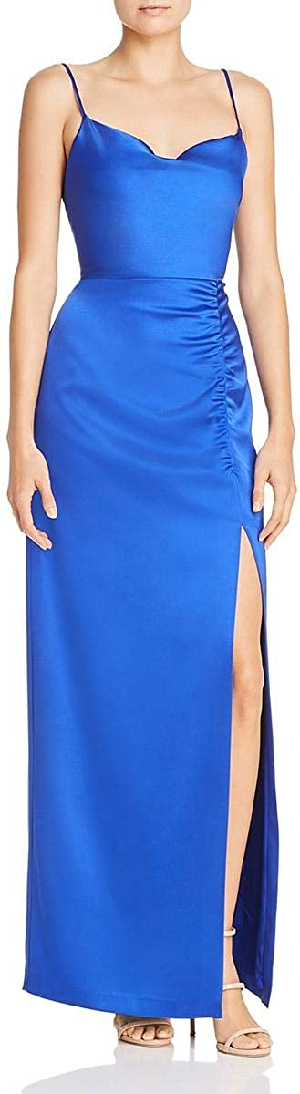 Laundry by Shelli Segal Womens Satin Drape-Neck Ruched Evening Dress