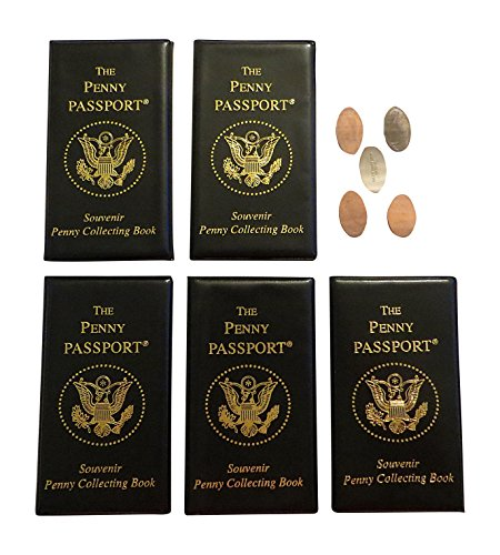 5 Penny Passport Souvenir Elongated Coin Albums With Free Pressed Pennies