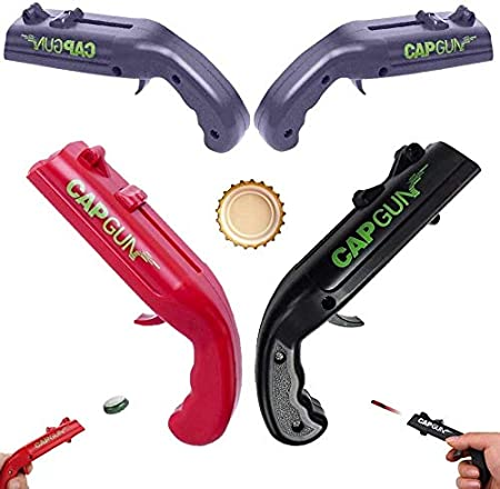 Abridor de botellas de pistola de tapa, disparador de cerveza, juguete de tendencia impresionante para juegos de fiesta para beber, dispara a más de 5 metros (3 Pack)