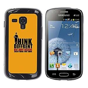 Be Good Phone Accessory // Dura Cáscara cubierta Protectora Caso Carcasa Funda de Protección para Samsung Galaxy S Duos S7562 // Orange Order Suppression Conspiracy