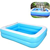 Akaho Family Inflatable Swimming Pools Thickened Family Pool for Children Adults, PVC Folding Durable Swim Center Family Inflatable Pool Family Kid Adult Bath Tubs (110cm for 1-2P, Blue-2Fly)