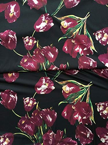 BeesClover Soft Silk Fabric, Purple Tulips Printed Polyester Silk Stretch Fabric,Women Evening Dress Imitate Silk Fabric 1 Meter (Silk Tulip Dress)