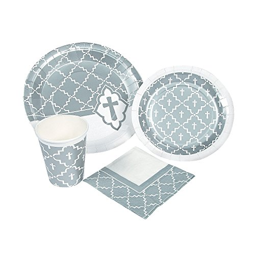 (Fun Express - Silver Cross Party Supplies Set for Easter - Party Supplies - Print Tableware - Print Plates & Bowls - Easter - 104)