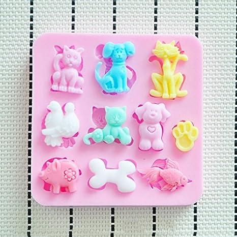 Molde de silicona 3D diseño de animalitos gatos perros cerdo pez hueso. Para pastel, pasta de azucar, fondant, chocolates: Amazon.es: Hogar