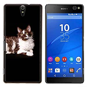 Ragdoll americana de pelo largo Curl Gato Negro- Metal de aluminio y de plástico duro Caja del teléfono - Negro - Xperia C5 E5553 E5506 / C5 Ultra
