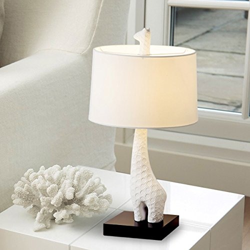 Crayom Bedroom Bedside Table Lamp Simple Modern Nordic White Resin Giraffe Shape Desk Light Creativity Warm Marriage Gift Table Light with Cloth Lampshade
