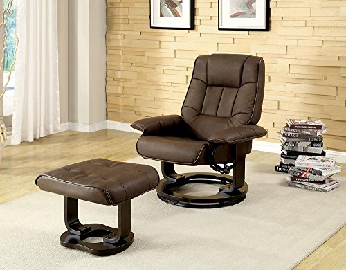 Wager Leather PU Lounger with Ottoman in Brown by FA Furnishing