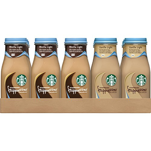 Starbucks Frappuccino, Mocha Light and Vanilla Light Flavors Variety Pack, 9.5 Ounce Glass Bottles, 15 Count