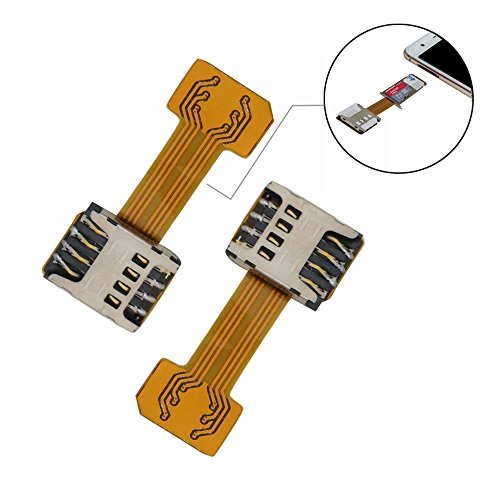 Dual SIM Card Micro SD Card Adapter (2 Pcs) for Android Smartphone,Ultra-Slim Gold SIM Card Extender for Samsung S7 / S7 Edge / S8 / S8+ Huawei Mate7/8/9 Xiaomi Lenovo
